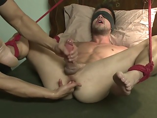 Bring a bound guy to orgasm bdsm big cock bondage