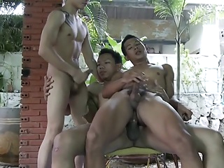 Fabulous Asian gay twinks in Amazing bareback, rimming JAV video asian bareback rimming