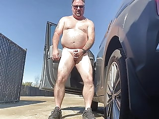 Luvbennude has fun outside amateur bear daddy