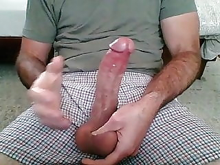 Multiple cumshots, jerking off with own cum big cock masturbation webcam