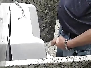 grandpa bathroom amateur big cock handjob